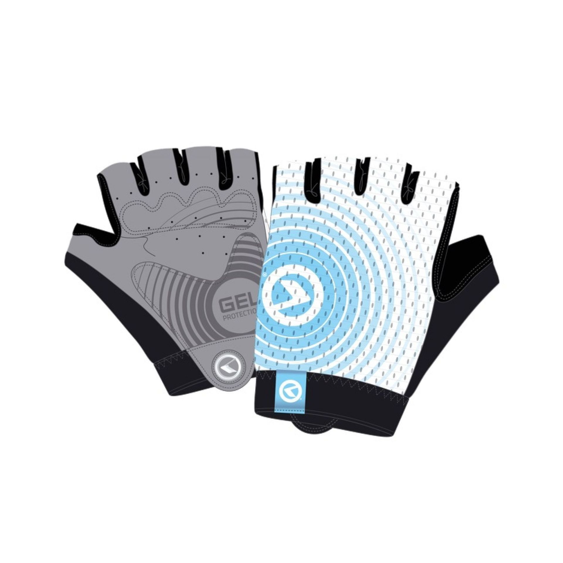 Rękawiczki rowerowe Kellys Instinct Short białe|niebieskie