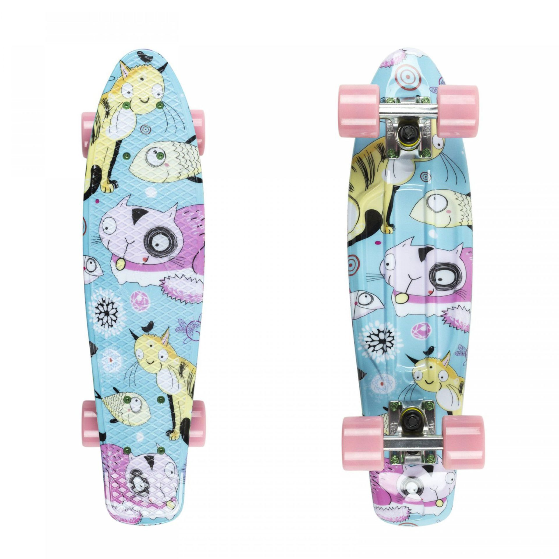 FISHBOARD FISH SKATEBOARDS PRINT CATS|SILVER|SUMMER PINK 1