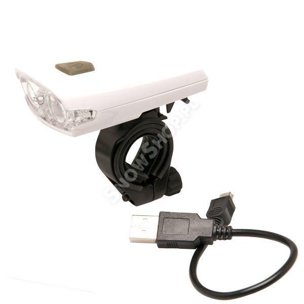Lampka przednia Aim 2 DIODY USB biały