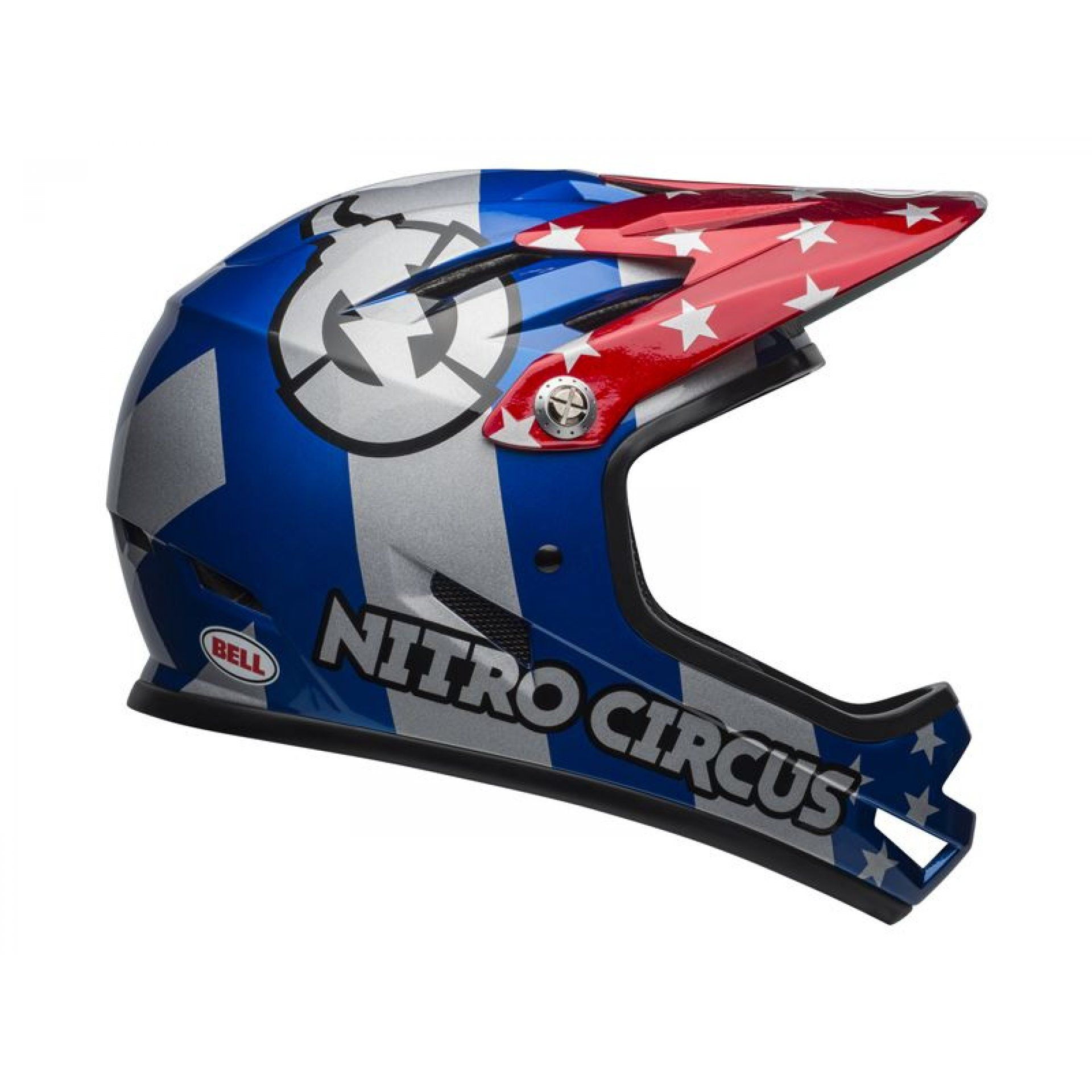 KASK ROWEROWY BELL SANCTION NITRO CIRCUS GLOSS SILVER BLUE RED