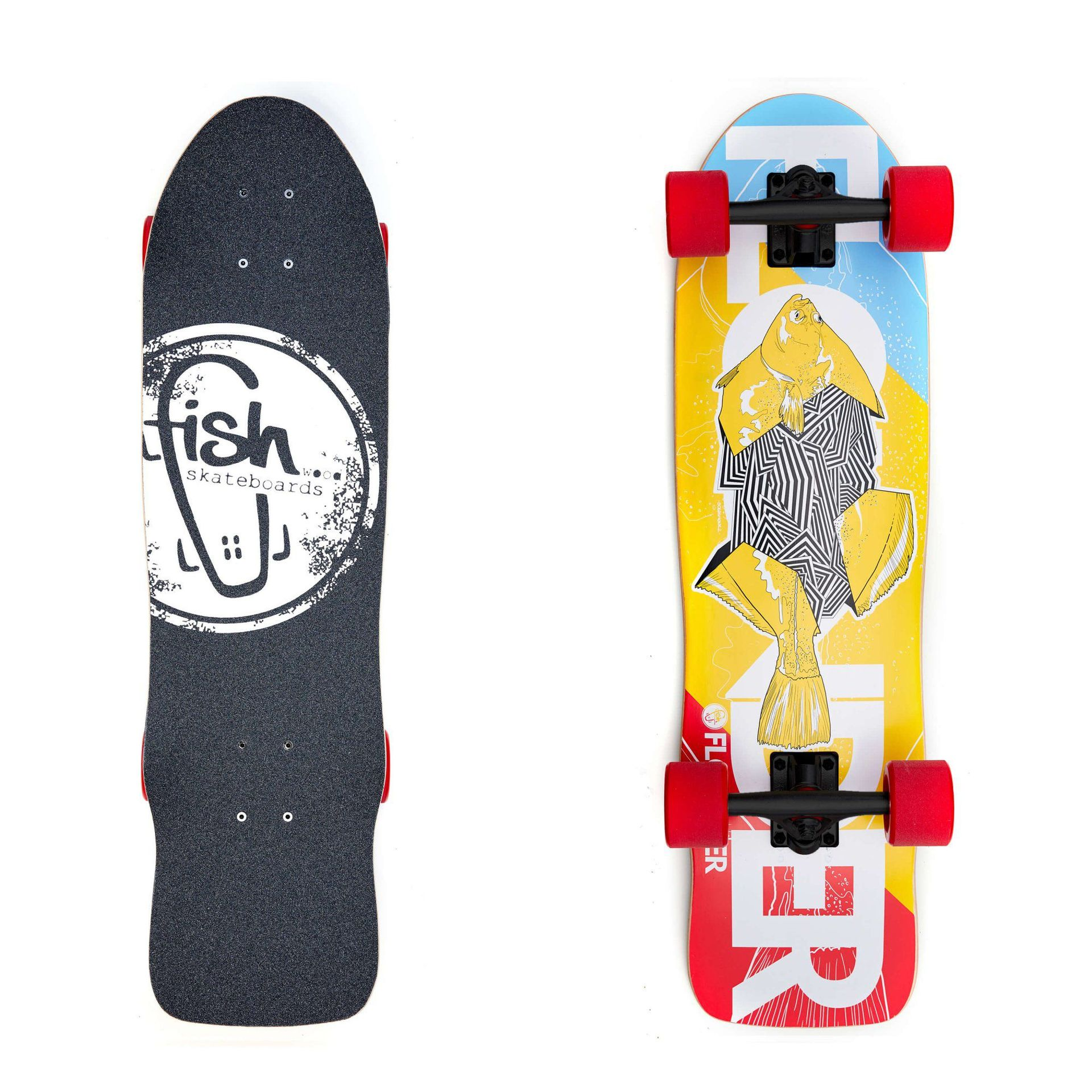 LONGBOARD FISH SKATEBOARDS CRUISER 32 FLOUNDER|BLACK|RED 1