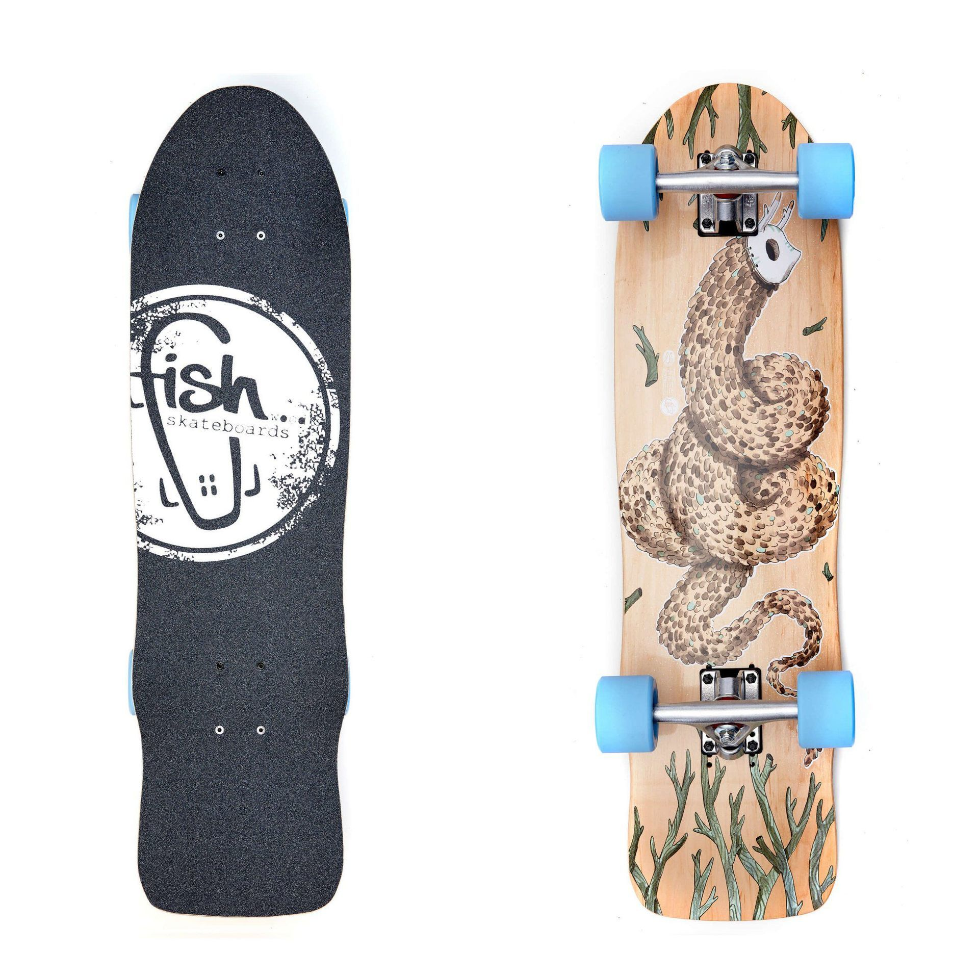 LONGBOARD FISH SKATEBOARDS CRUISER 32 SEADRAGON|SILVER|SUMMER BLUE 1