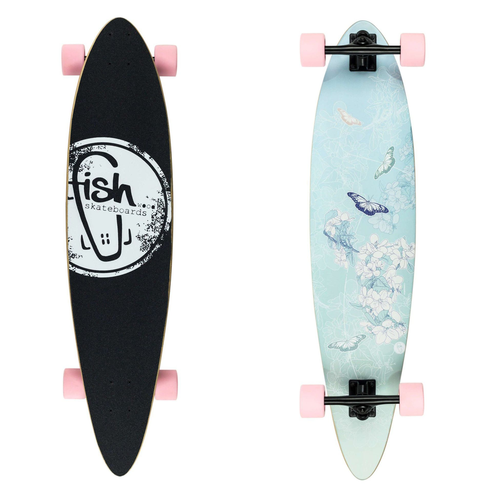 LONGBOARD FISH SKATEBOARDS LONGBOARD 40 BUTTERFLY|BLACK|SUMMER PINK 1