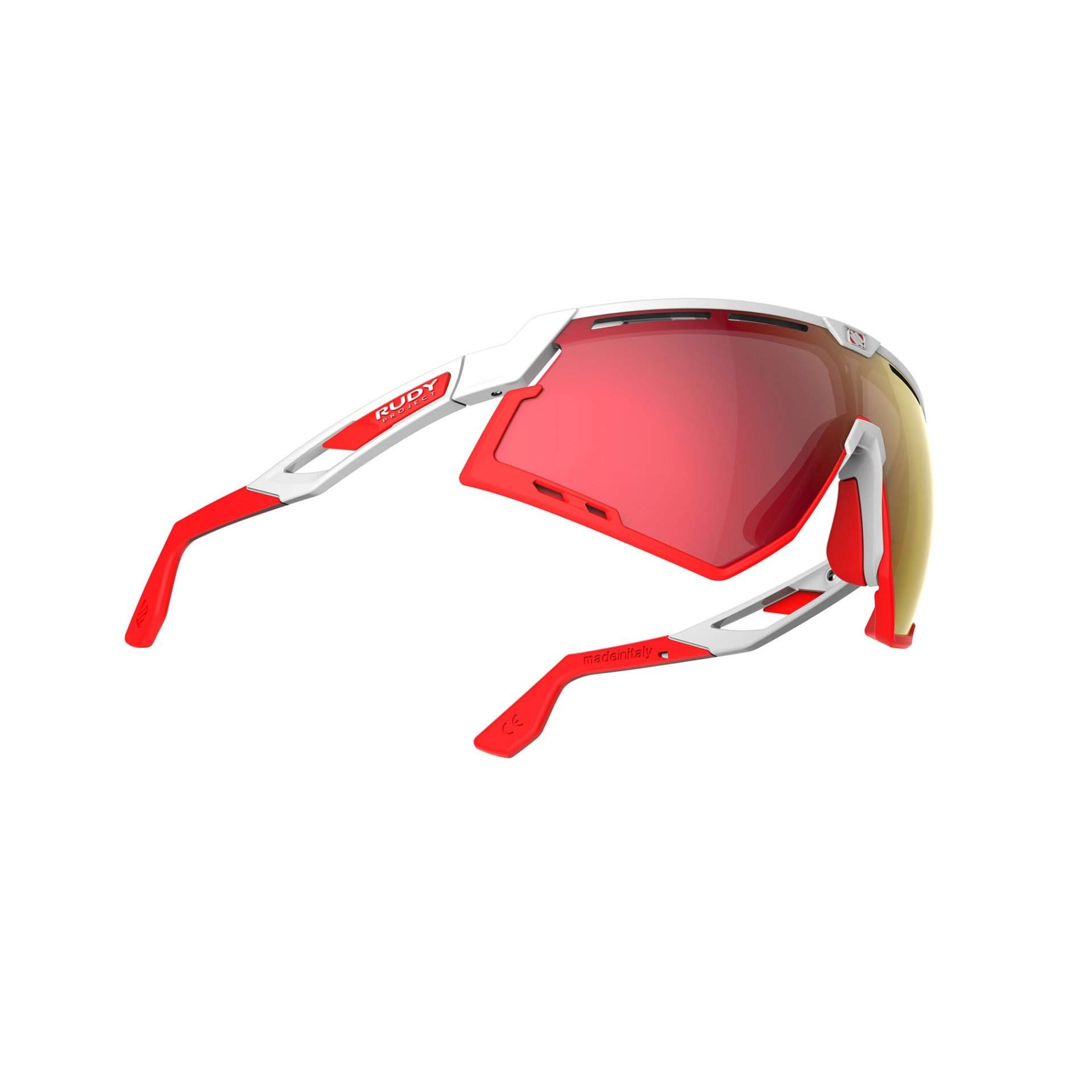OKULARY RUDY PROJECT DEFENDER MULTILASER RED + WHITE GLOSS|BUMPRES RED FLUO SP5238690000 Z DOŁU