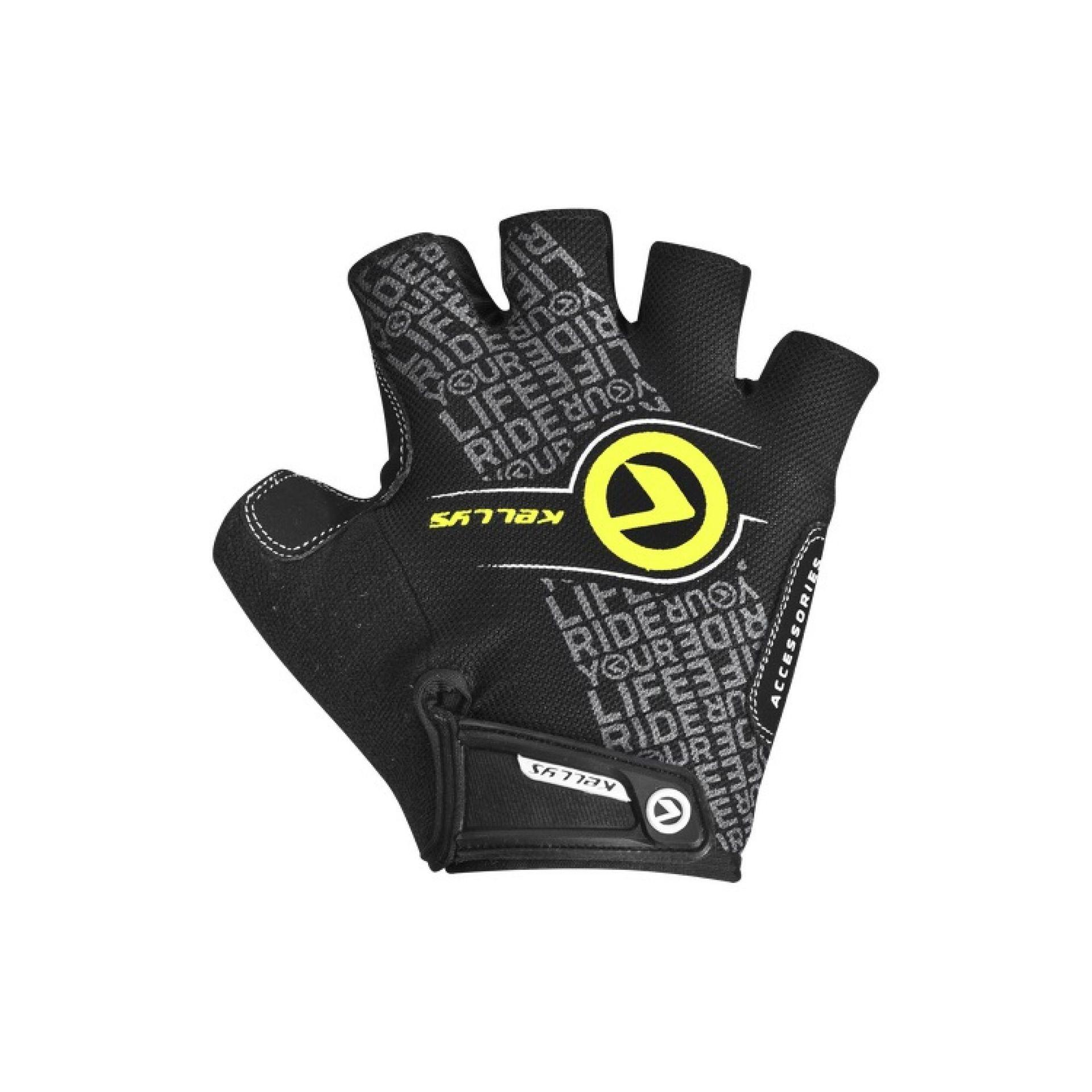 Rękawiczki rowerowe Kellys Comfort New czarne limonkowe