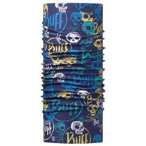 CHUSTA BUFF  HIGH UV PROTECTION JUNIOR FUNNY SKULLS DARK NAVY WIELOKOLOROWY