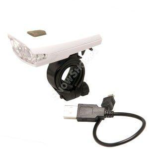 LAMPKA ROWEROWA PRZEDNIA AIM 2 DIODY USB  BIAŁY