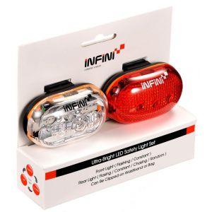 ZESTAW LAMPEK ROWEROWYCH INFINI  VISTA SET 400W+402R  BIAŁY|CZERWONY