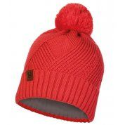 CZAPKA BUFF KNITTED AND FLEECE HAT RAISA BLOSSOM RED