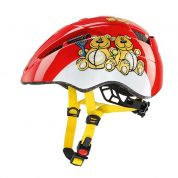 Kask rowerowy Uvex Kid II czerwono biało żółty