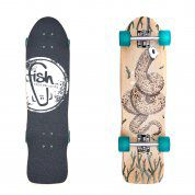 LONGBOARD FISH SKATEBOARDS CRUISER 32 SEADRAGON|SILVER|TRANSPARENT GREEN 1
